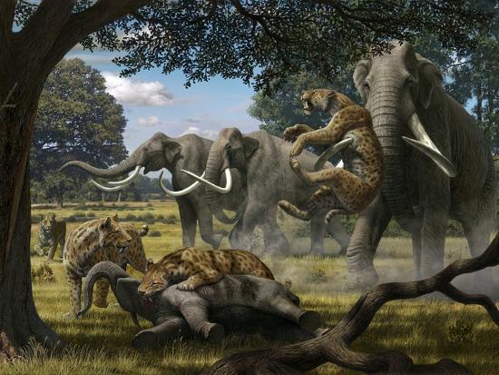 Mammoths And Sabre-tooth Cats, Artwork-Mauricio Anton-Premium Photographic Print
