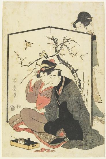 Man and Courtesan Smoking Pipes, C. 1804-Kitagawa Utamaro-Giclee Print