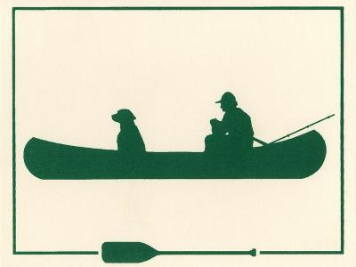 Man and Dog in Canoe-Crockett Collection-Giclee Print