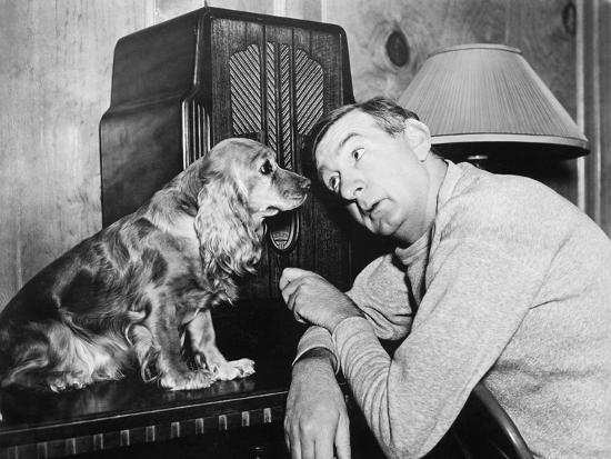 Man and Dog Listening to the Radio--Photo