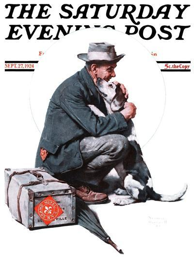 """""""Man and Dog"""" or """"Pals"""" Saturday Evening Post Cover, September 27,1924-Norman Rockwell-Giclee Print"""