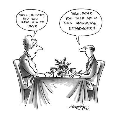 """Man and woman at dinner table.  She asks him """"Well, Hubert, did you have a? - New Yorker Cartoon-Henry Martin-Premium Giclee Print"""