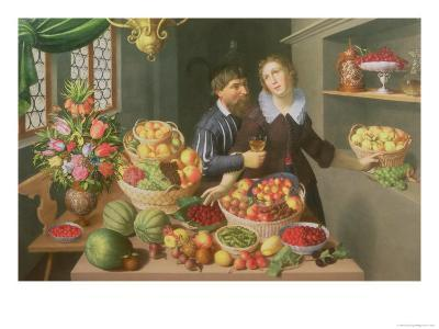 Man and Woman Before a Table Laid with Fruits and Vegetables-Georg Flegel-Giclee Print