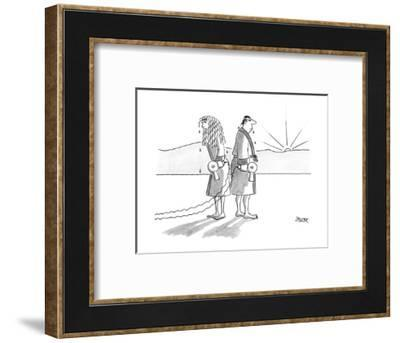 Man and woman, both robed and dripping wet from shower, stand back-to-back? - New Yorker Cartoon-Jack Ziegler-Framed Premium Giclee Print