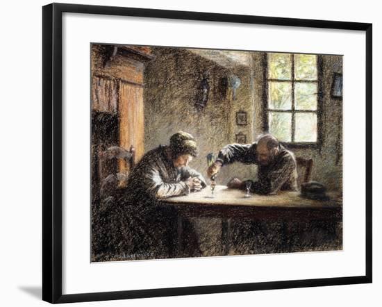 Man and Woman Drinking Eau De Vie-Léon Augustin L'hermitte-Framed Giclee Print