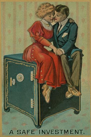 Man and Woman Embracing on a Safe, a Safe Investment--Giclee Print