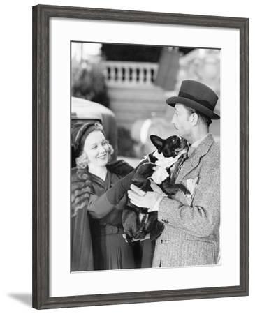 Man and Woman Holding a Little Dog--Framed Photo