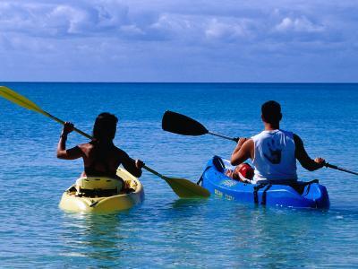 Man and Woman Kayaking on Fernandez Bay, Cat Island, Bahamas-Greg Johnston-Photographic Print