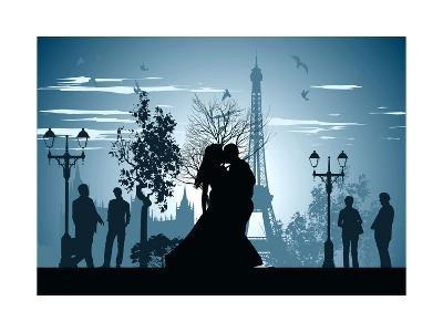 Man and Woman Kissing on A Street in Paris-Stockerteam-Art Print