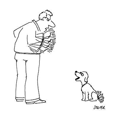 Man angrily shakes finger at dog, while dog happily wags tail at man. - New Yorker Cartoon-Jack Ziegler-Premium Giclee Print