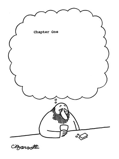 Man at bar thinks, 'Chapter One' with large blank space following. - New Yorker Cartoon-Charles Barsotti-Premium Giclee Print