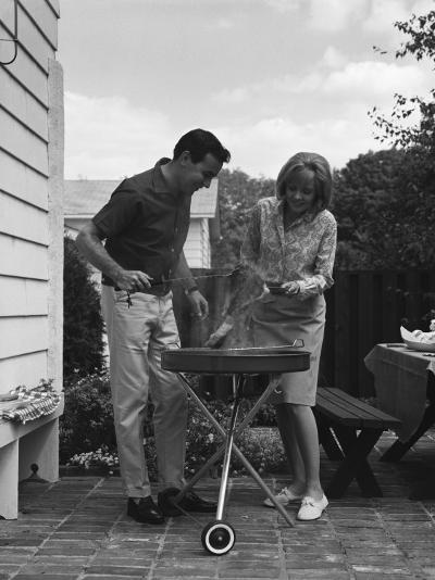 Man Barbecuing Steak-H^ Armstrong Roberts-Photographic Print