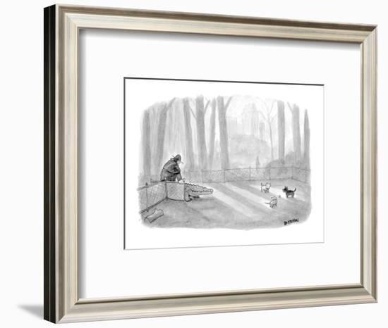 Man bringing alligator into dog park. - New Yorker Cartoon-Jason Patterson-Framed Premium Giclee Print