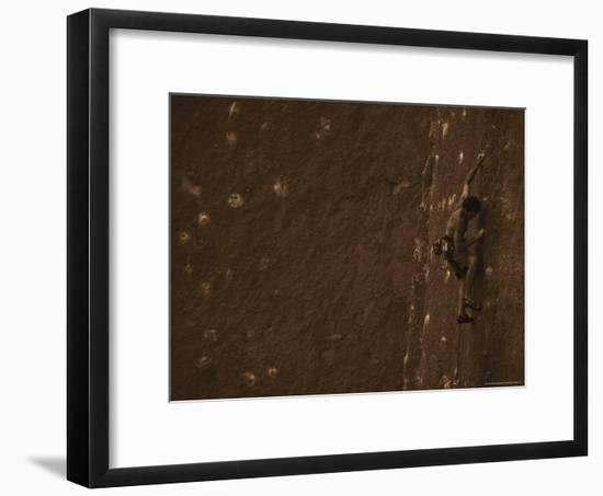 Man Climbing the Rock Formation Last Waltz-Bobby Model-Framed Photographic Print
