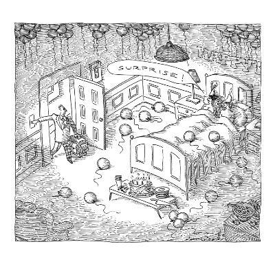 """Man comes home to """"surprise party"""" of his wife sleeping with another man. - New Yorker Cartoon-John O'brien-Premium Giclee Print"""
