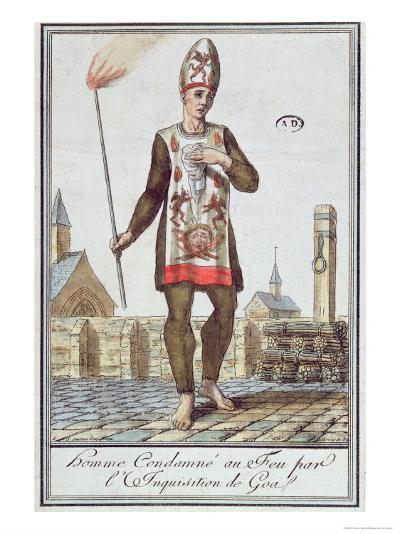 Man Condemned by the Inquisition of Goa to Be Burnt at the Stake, Late 18th Century--Giclee Print