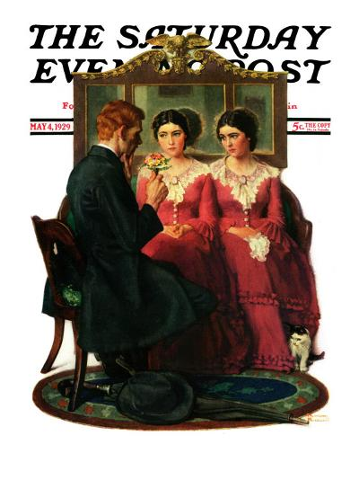 """Man Courting Two Sisters"" Saturday Evening Post Cover, May 4,1929-Norman Rockwell-Giclee Print"