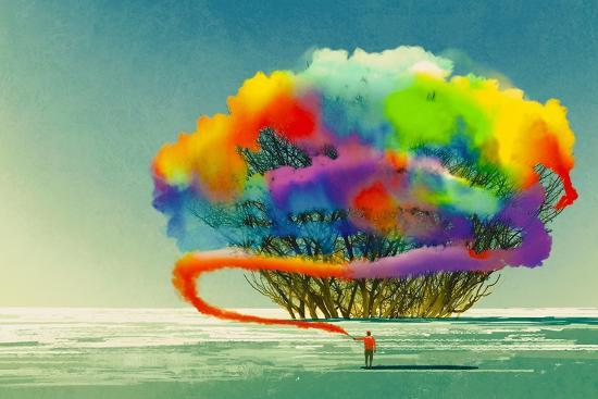 Man Draws Abstract Tree with Colorful Smoke Flare,Illustration Painting-Tithi Luadthong-Art Print