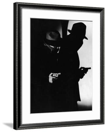 Man Dressed As Gangster With Gun, and His Shadow--Framed Photographic Print