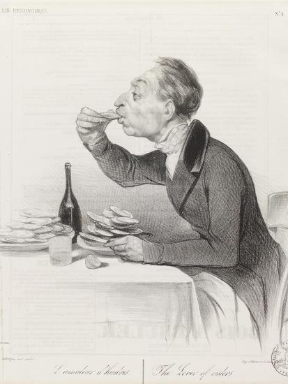 Man Eating Oysters and Wine-Honore Daumier-Giclee Print