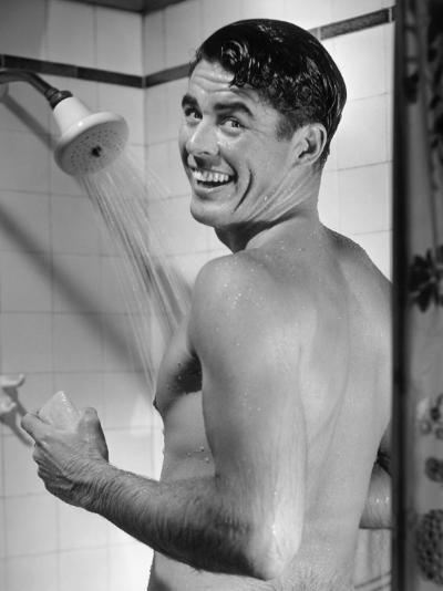 Man Enjoying Shower-George Marks-Photographic Print
