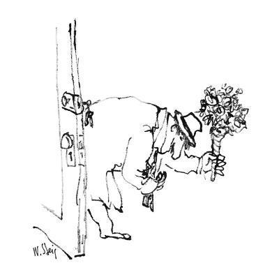 Man enters house with flowers. - New Yorker Cartoon-William Steig-Premium Giclee Print