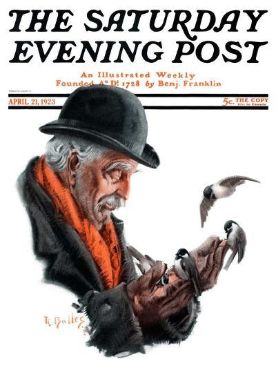 """Man Feeding Birds,"" Saturday Evening Post Cover, April 21, 1923-R^ Bolles-Giclee Print"