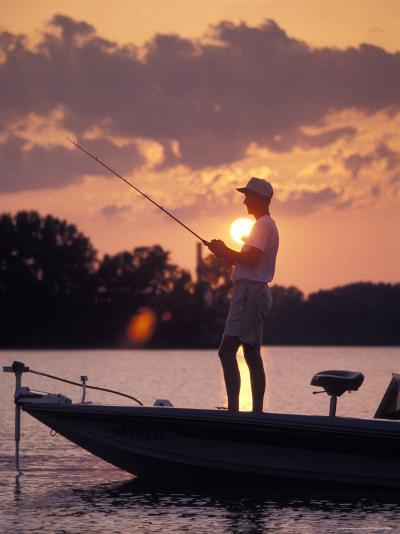 Man Fishes During Sunset on the James River near Shirley Plantation in Virginia-Richard Nowitz-Photographic Print