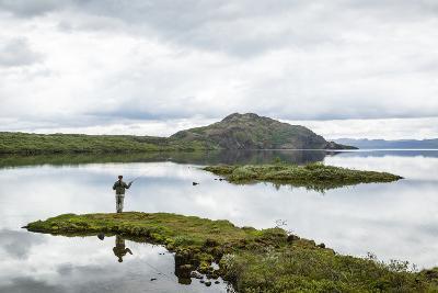 Man Fishing at Thingvallavatn Lake, Thingvellir (Pingvellir) National Park, Golden Circle, Iceland-Yadid Levy-Photographic Print