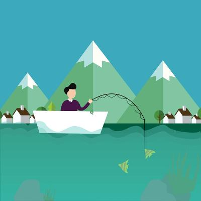Man Fishing in Boat with Mountain Scenery Behind-Bakhtiar Zein-Art Print