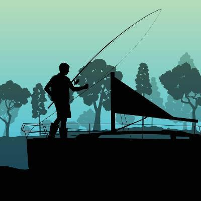 Man Fishing on Lake from Boat Landscape for Poster-Kristaps Eberlins-Art Print
