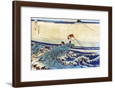 Man Fishing with Mount Fuji in the Background, Japanese Wood-Cut Print-Lantern Press-Framed Art Print