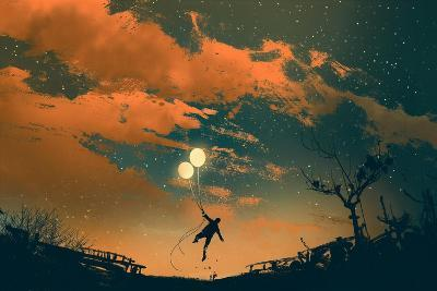 Man Flying with Balloon Lights at Sunset,Illustration Painting-Tithi Luadthong-Art Print