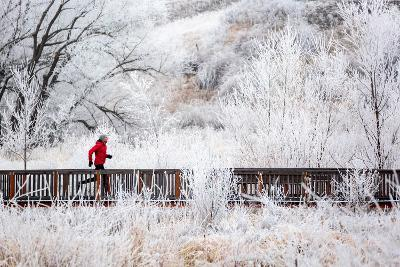 Man Goes For A Run To Burn Off Thanksgiving Dinner Calories On A Cold Nov Morning In N Idaho-Ben Herndon-Photographic Print