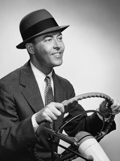Man Gripping Steering Wheel--Photographic Print