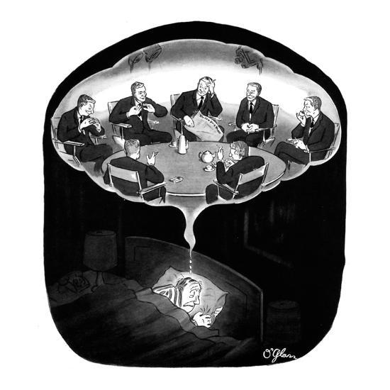 Man has a nightmare of many David Susskinds seated around a discussion tab? - New Yorker Cartoon-C.E. O'Glass-Premium Giclee Print