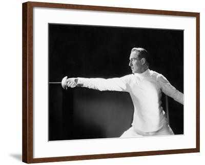 Man in a Fencing Position--Framed Photo