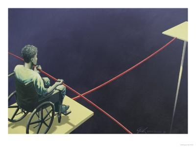Man in a Wheelchair on a Tightrope--Giclee Print