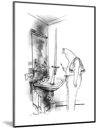 Man in bathroom. A hand reaches out of a water-filled sink holding up a sw? - New Yorker Cartoon-Ronald Searle-Mounted Premium Giclee Print
