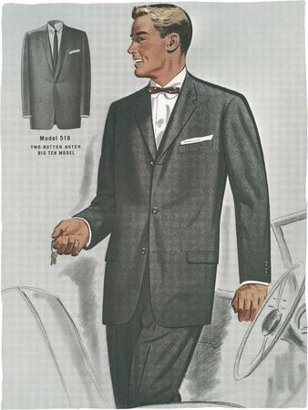 Man in Black Suit Illustration--Art Print