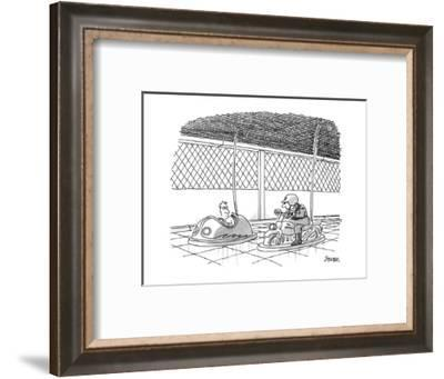 Man in bumper car is approched by cop in motercycle bumper car. - New Yorker Cartoon-Jack Ziegler-Framed Premium Giclee Print