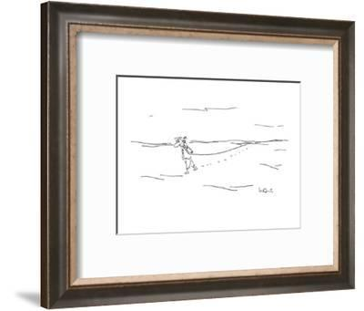Man in desert with telephone and cord. - New Yorker Cartoon-Arnie Levin-Framed Premium Giclee Print