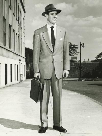 Man in Full Suit Standing on Sidewalk, (Portrait)-George Marks-Photographic Print
