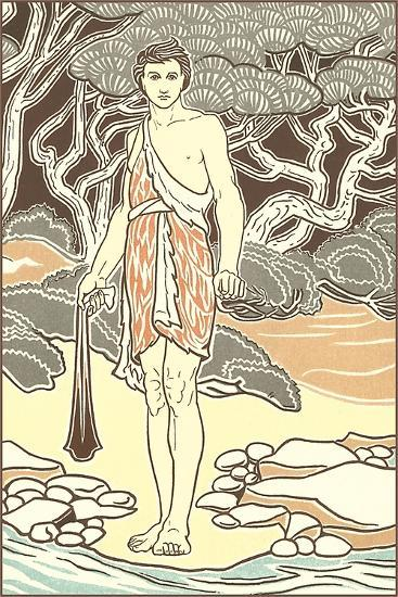 Man in Hide Toga by Shore--Art Print