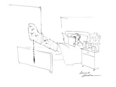 Man In Hospital Bed With Leg Cast Signed With Pen On Chain Attached To Cas?    CartoonBy Bernard Schoenbaum