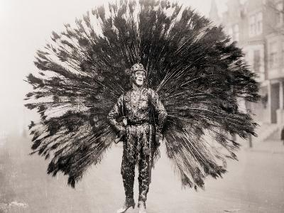 Man in Peacock Costume--Photographic Print