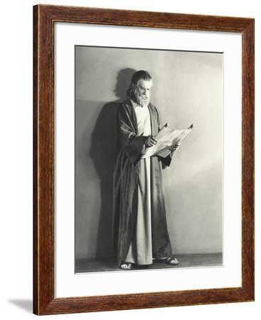 Man in Robe Reading Scroll--Framed Photo