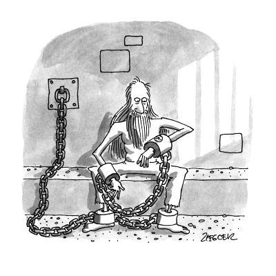 Man in shackels looks at watch implanted in bondage. - New Yorker Cartoon-Jack Ziegler-Premium Giclee Print
