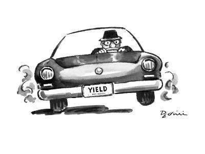 "Man in speeding car with license plate ""Yield"". - New Yorker Cartoon-Eldon Dedini-Premium Giclee Print"