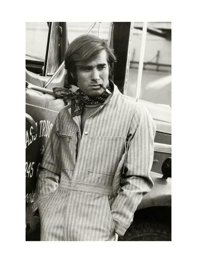 Man in Striped Denim Jumpsuit and Bandana Leaning Against a Truck with a Cigarette-Bruce Weber-Premium Giclee Print